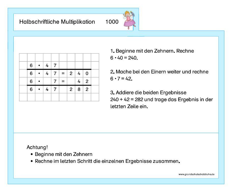 Halbschriftliche Multiplikation