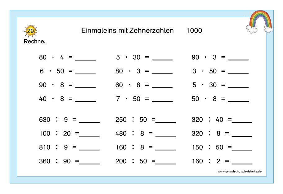 Einmaleins mit Zehnerzahlen7