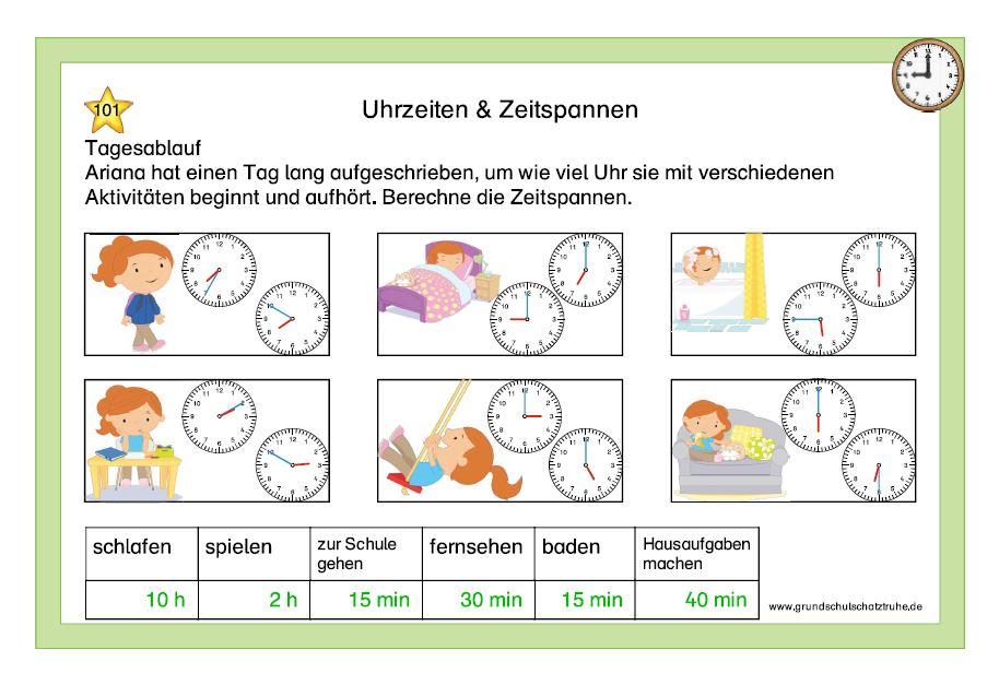 Uhrzeiten und Zeitspannen 10