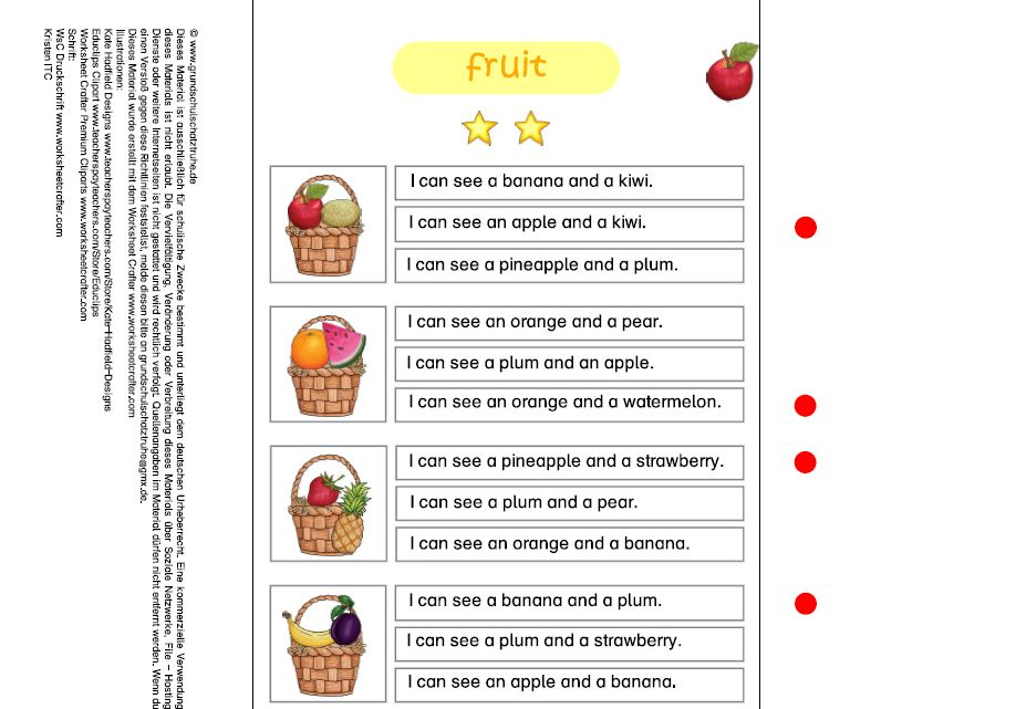 Klammerkarte fruit 2 Sterne