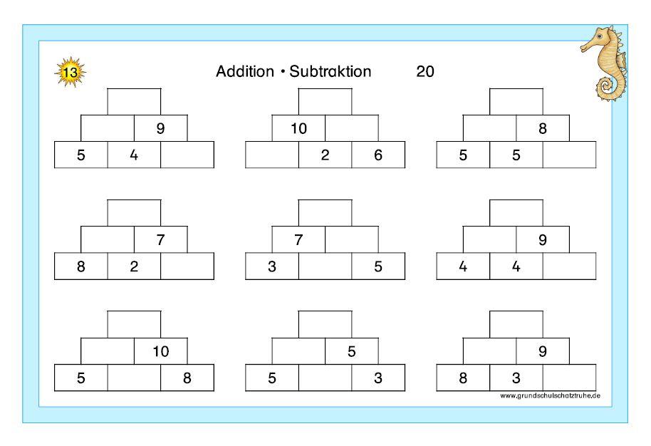 Kartei Addition + Subtraktion ZR 20 2