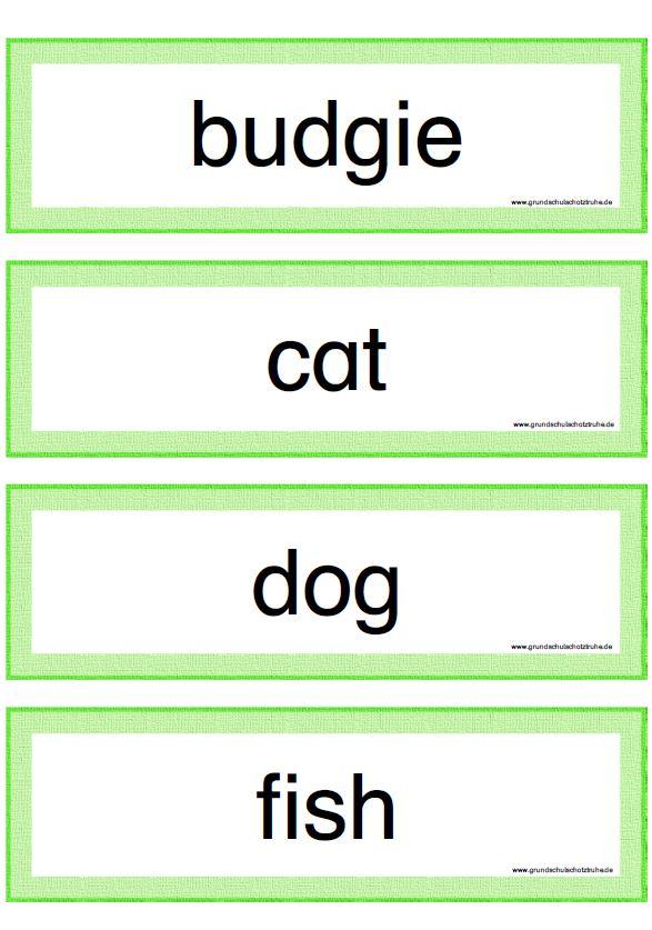 Wortkarten pets
