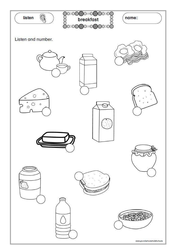 Arbeitsblätter breakfast