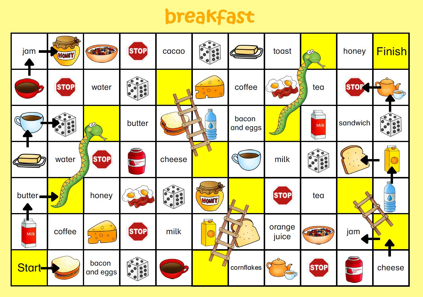 snakes and ladders breakfast